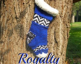 Royalty Blue Knit Christmas Stocking, Jingle Bell Socks