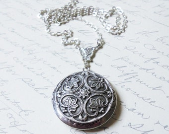 Renaissance Style Silver Locket---Christmas gift.Mothers Day Gift