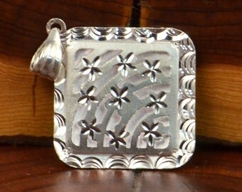 Tastefully Elegant Square Sterling Silver Engraved Stars Pendant / Charm