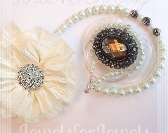 5in1 Convertible Pacifier Clip Baby Bracelet, Necklace Hair Accessory Ivory Flower Personalized Bling Pacifier Clip