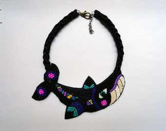 Black and neon elegant beaded necklace with whale Feminism. Nr6 - MADE TO ORDER