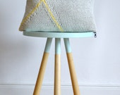 hand knitted cushion, grey with yellow No.1