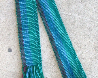 Handwoven Green and Blue Thin Belt
