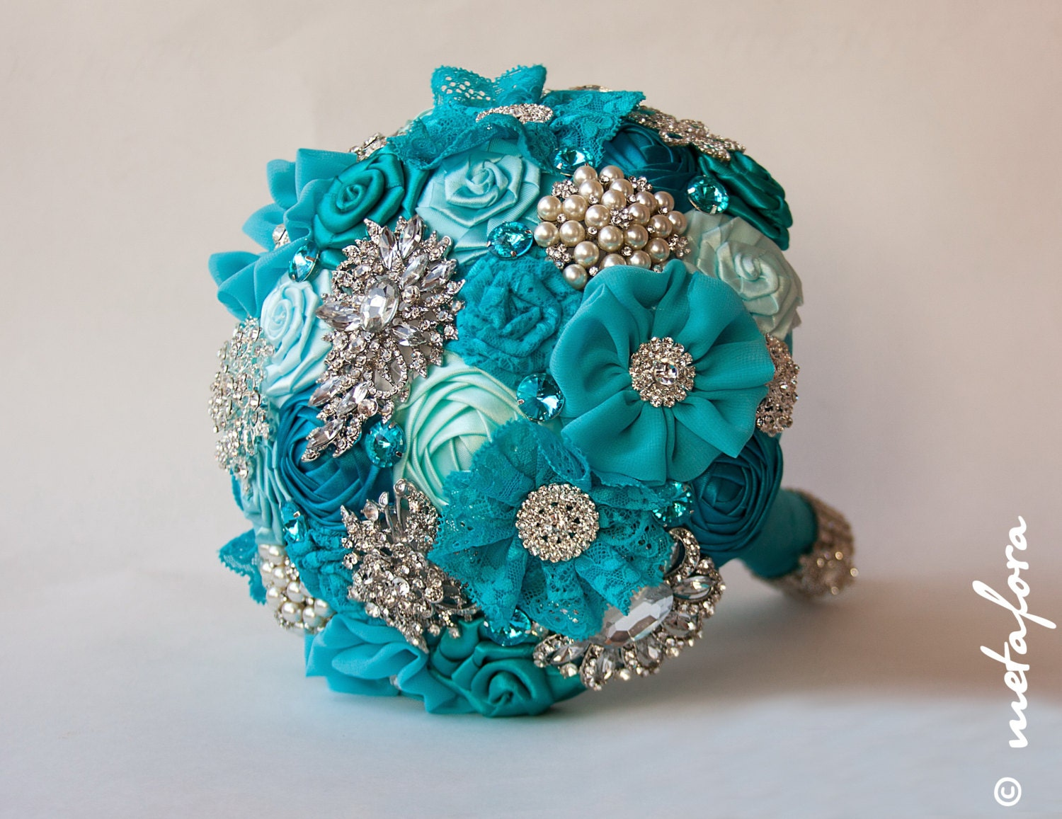Brooch Bouquet Turquoise Fabric Wedding Bouquet Unique
