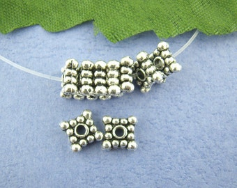 130 Spacer Beads - WHOLESALE - Anitique Silver - Studded - 6mm - Ships IMMEDIATELY from California - B910a