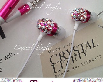 Sparkle VALENTINES Diamond Swarovski Crystal Earphone Headphone Earbuds Handsree with Microphone for iPhone or Any 3.5mm Plug