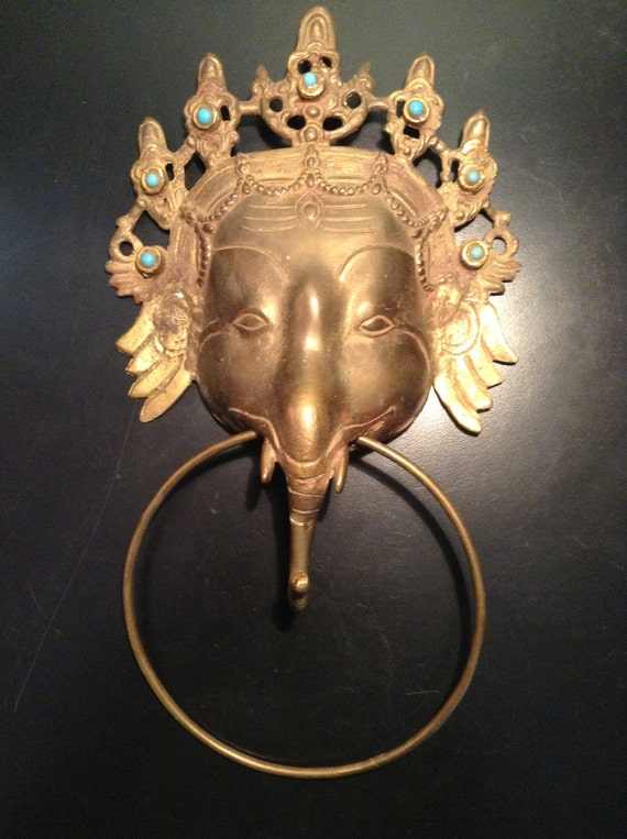 Vintage brass elephant towel ring or door knocker by goodkarmakc - Brass elephant door knocker ...