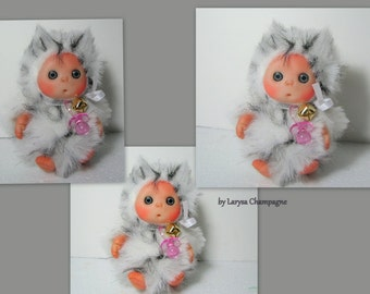 Snow Owl ,  Cute Baby Doll, Decoration for Home, Collectables, Halloween, Christmas made by order