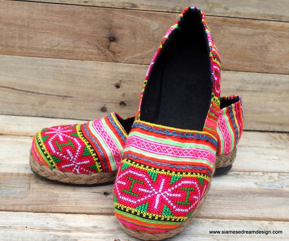 Womens Loafer Ethnic Hmong Embroidered  Vegan Shoes