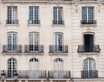Paris Photography - Windows and Balconies, Classic Black and White Photograph, Urban Home Decor, Wall Art, French Architecture