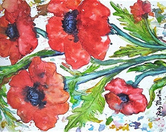 Poppy Abstract, Gift, Birthday, Office - READY to HANG - Original Fine Art Watercolor Painting by ebsq Artist Ricky Martin  FREE Shipping