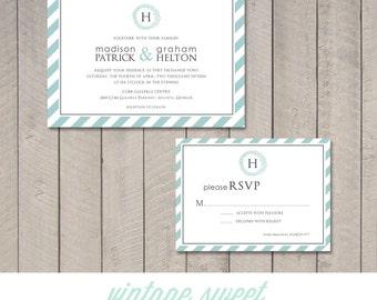 Modern Stripes Wedding Invitation & RSVP Card (Printable) by Vintage Sweet