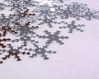 19mm Silver snowflake sequins - Silver Wedding Favors Confetti (1173) - Flat rate shipping
