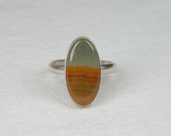 Picture Jasper Ring Natural Stone Ring Handmade Artisan Ring Oval Ring Artisan Jewelry Picture Jasper Jewelry