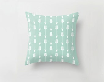 Arrow in Seafoam, Pillow Slip Cushion Cover, Woodland Tribal Mint Green | Made to Order | Ships in 4-8 weeks