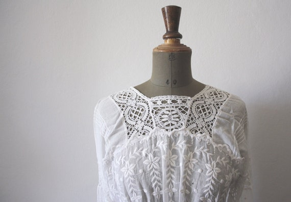 1900s cotton lace dress // Antique wedding dress