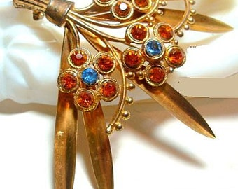 "Art Deco Brooch Pin HUGE Orange Blue Rhinestones Floral Design Gold Brass Metal 4"" Vintage"