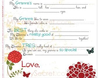 "insant download...DIY Printable 8"" x 10"" Grandmother Letter for ""Granna"", Granna's Gift - Print for Grandma"
