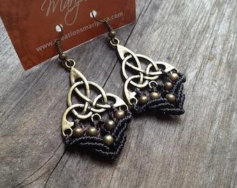 Macrame celtic triangle earrings boho bohemian micromacrame gypsy jewelry