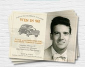 Classic Car Birthday Invitation - 5x7 - 40th, 50th, 60th, 70th, 80th - Linen - Oldies - Photo Card - Hot Rod-  Digital Printable File -