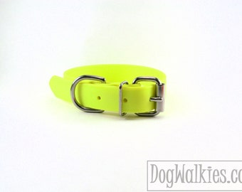 "Biothane Dog Collar - Sunny Neon Yellow 1"" (25mm) Wide - leather look and feel - Adjustable Custom - Stainless Steel or Brass Hardware"