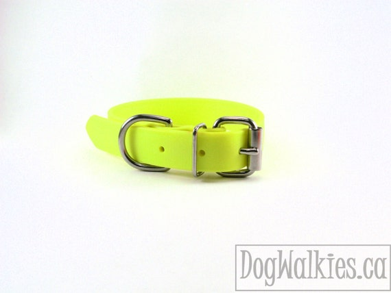 "Biothane Dog Collar / Sunny Neon Yellow / 1"" (25mm) Wide - leather look and feel - Adjustable Custom - Stainless Steel or Brass Hardware"