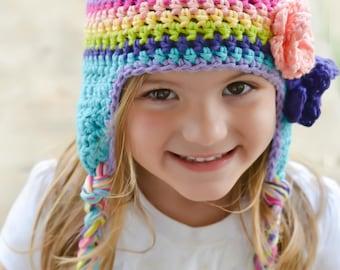 baby hat, rainbow hat, girls rainbow hat, girls hat, little girls hat, crochet girl hat, baby girl hat, kids hat, crochet hat for girls