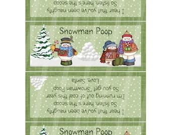 DIY Snowman Poop Digital Bag Toppers BG009