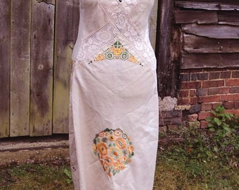 Sunflowers Embroidered  Cotton and Lace Wedding Dress