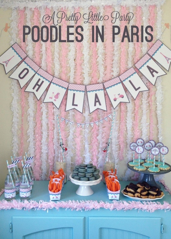 Poodles in Paris Party Pack - Girls - Digital files - Party Supplies - INSTANT DOWNLOAD