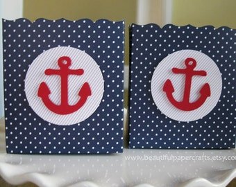 Nautical Baby Shower, Nautical Anchor Candy Popcorn Nut Cup Favor Boxes