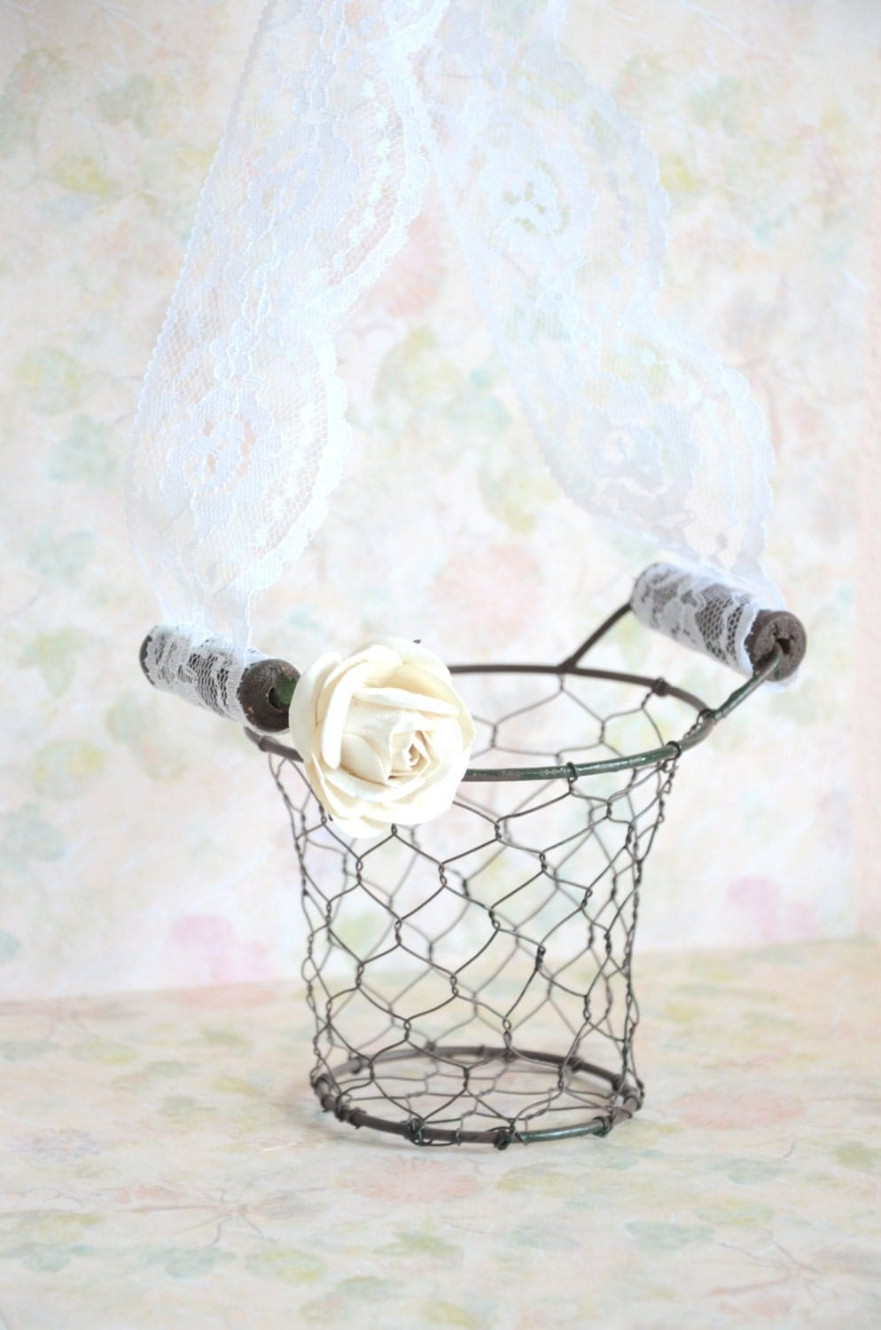 Flower Girl Baskets Small : Shabby chic small wire flower girl basket by