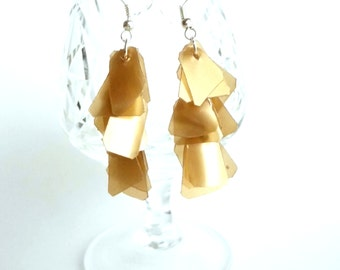 Brown earrings made of recycled plastic contemporary earrings upcycled jewelry geometric earrings repurposed jewelry recycled earrings
