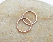 14K Rose Gold Filled Hammered Textured Cartilage Hoops, 18 Gauge Hoops, Faceted Earrings, Helix Piercing, Ear Huggers, Mini Hoops