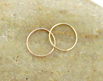 24 Gauge Nose Hoops, Set of Two Gold Nose Rings, 14K Yellow Gold Filled, 14K Rose Gold Filled, Helix Hoops, Thin Cartilage Hoops