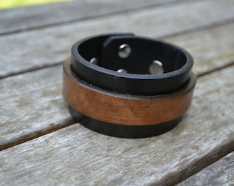 Black and brown thick leather cuff