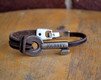 Leather bracelet with inspirational skeleton key