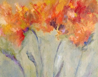 SALE, Abstract Floral, Original Art, Acrylic Painting, Blooms of Fire