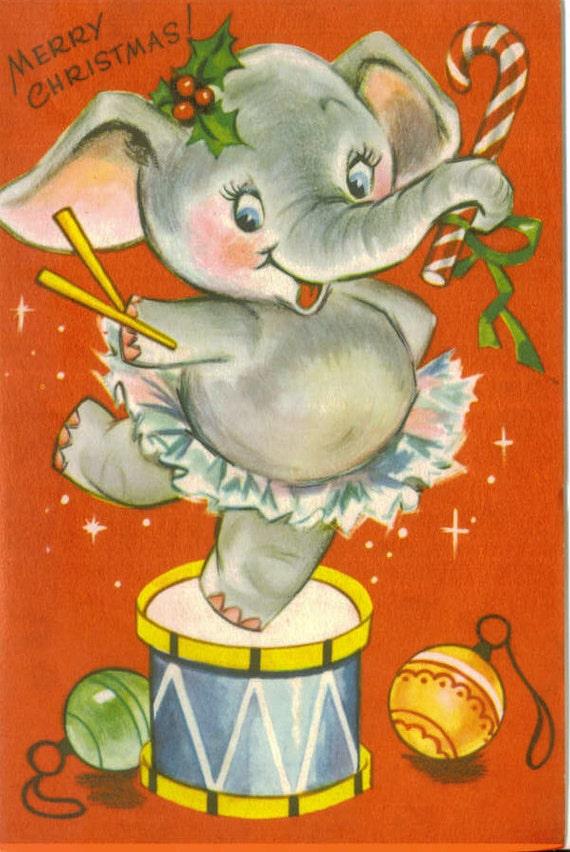 vintage christmas card dancing elephant unused