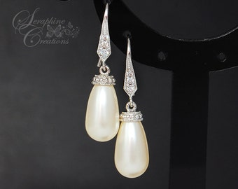 Bridal Pearl Earrings Wedding Jewelry Teardrop Pearl Earrings Cubic Zirconia Swarovski Bridesmaid Gift White Cream K022