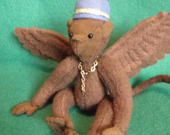 Flying Monkey, soft sculpture winged monkey, wizard of oz, fantasy monkey