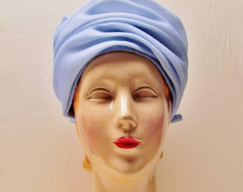 Vintage blue turban style hat, 1960's large size womans hat, light blue crepe turban