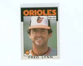 Vintage 1986 Fred Lynn 55 Outfield Orioles O-Pee-Chee Baseball Card - Paper Ephemera, Vintage Cards, Major League Red Sox