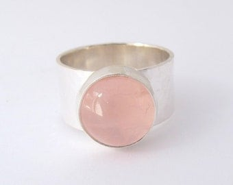Rose Quartz Ring, Sterling Silver Ring, Round Rose Quartz Gemstone, Wide Band
