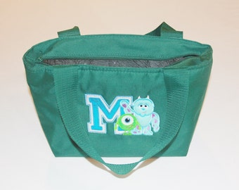 Lunch Bag Tote Purse Personalized Monster Applique for Girls Insulated with Zippered Main Compartment and One Side Pocket