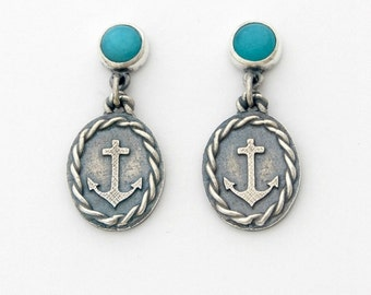 Amazonite Sailor earrings - sterling silver and amazonite dangle earrings