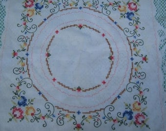 Set of 2 1960s Vintage Cross Stitch  Embroidered  Doily Mats