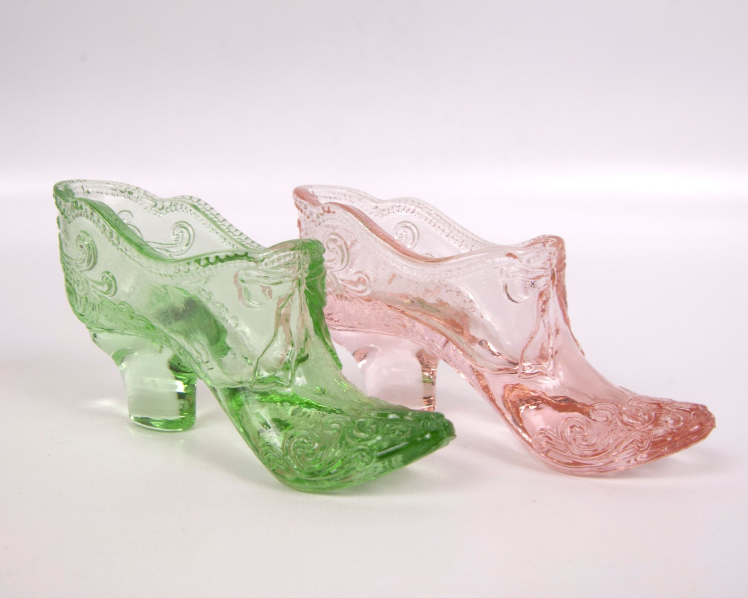 vintage mosser glass shoes pink green shoes bow scroll high