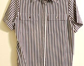 Vintage NEVER WORN Chocolate Brown Striped Women's Shirt 1980's Christie and Jill