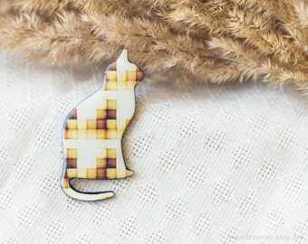 SALE - Yellow pixel plaid cat brooch. Cat jewelry, ombre jewelry, orange, animal, harvest, woodland jewelry, geometric brooch